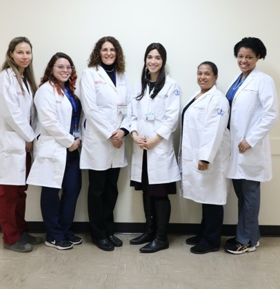 Lisa's team with white lab coats